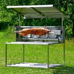 barbecue tourne broche électrique avec toit L1400 gaz